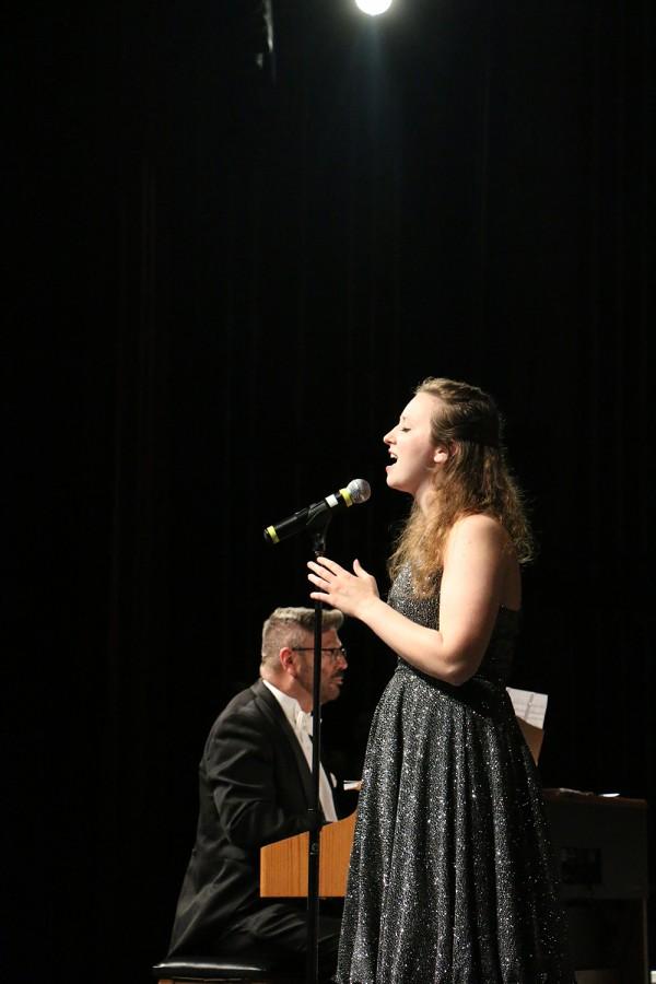 Senior Sarah Harpring, a member of Center Stage, performs during Monday night's concert.
