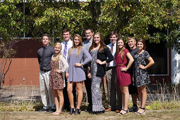 Columbus East Homecoming Court consists of (back row from left to right) Nick Andrie, KJ McCarter, Rhett Myers, Austin Lewis and Sam Dwenger; (Front row from left to right) Kira Singer, Shelby Gooldy, Brooke Statler, Maddie Albright and Ella Rohlfs.