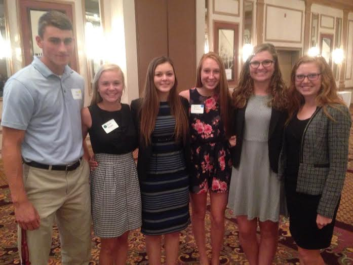 YLBC scholarship winners  seniors Alex Galle,left, Kira Singer, Maddie Albright, Katie Emmert, Bryn Eudy and Rebecca Smith pose for a photo.