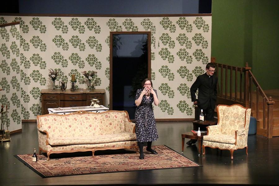 Senior Sarah Harpring, center, performs as Ida the Maid during
