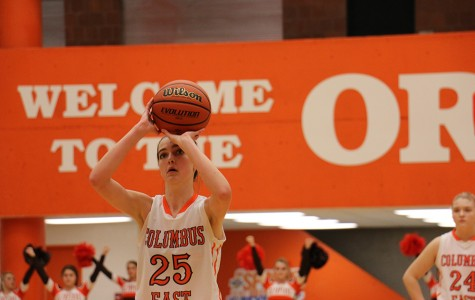 Junior Kristen Lyons shoots a free throw during the first half of last night's game.
