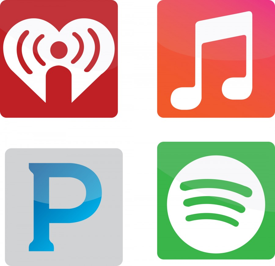 Clockwise from top left: logos from popular streaming services include iHeart Radio, Apple Music, Pandora and Spotify