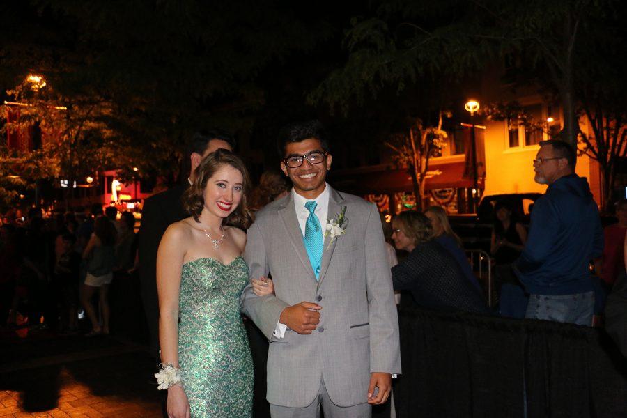 Seniors Nicole Bodi and Shaunak Deshmukh pose for a photo.