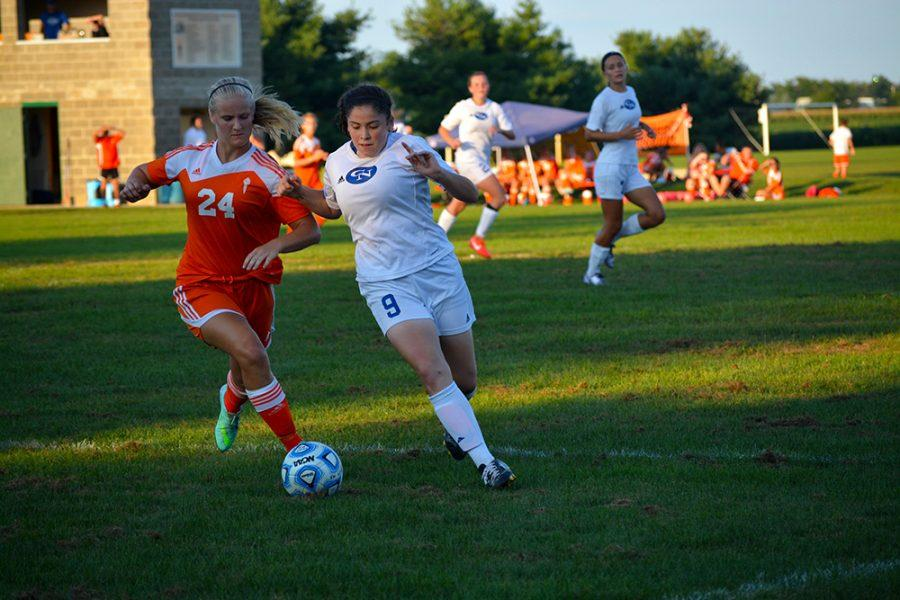 Junior Addy Galarno takes North's defender one-on-one.