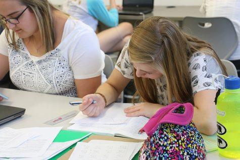 East students work on homework.
