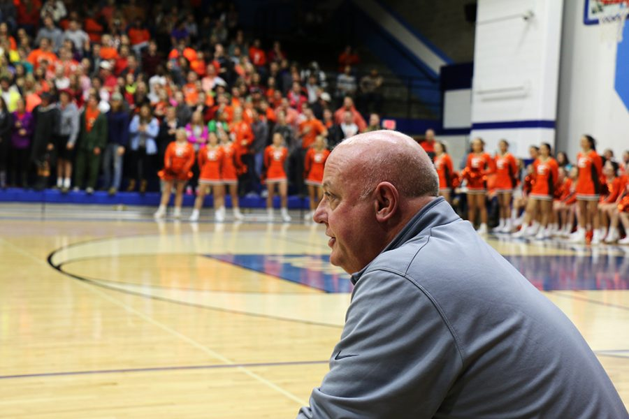 Coach Chitty looks on as his team faces off against North.