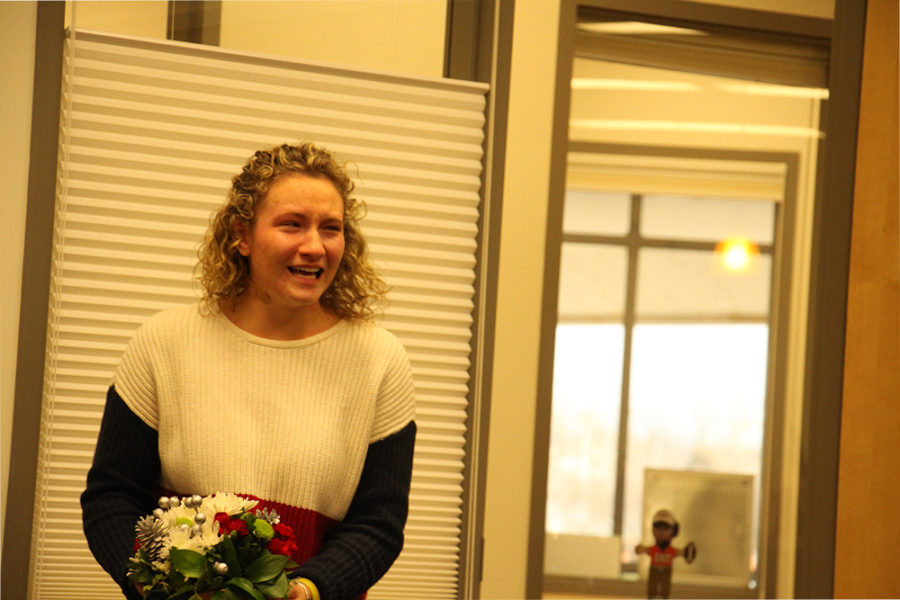 Maddy Rhodes is overwhelmed after learning she won the LIlly Scholarship.