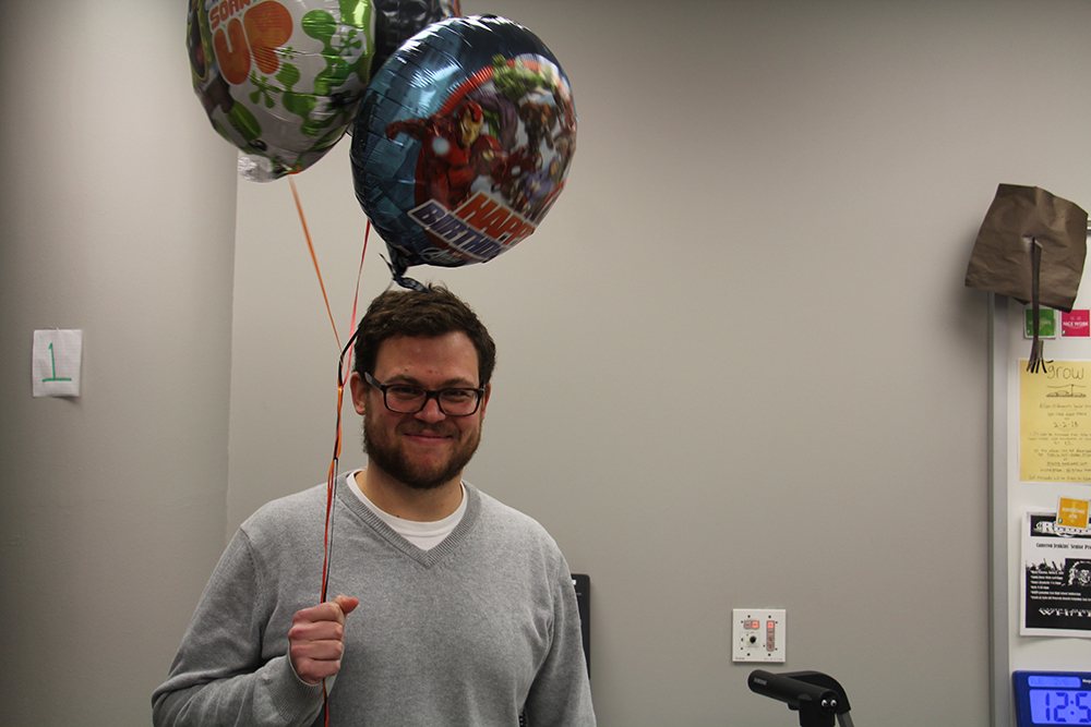 Teacher Scott Duncan enjoys his birthday celebration.