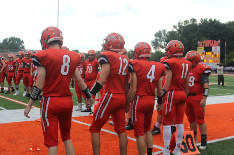 Easts starting lineup prepare before the beginning of the game.