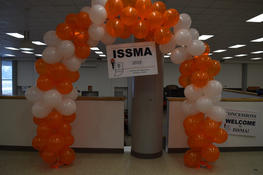 The ISSMA balloon archway provides a perfect photo opportunity for performers.