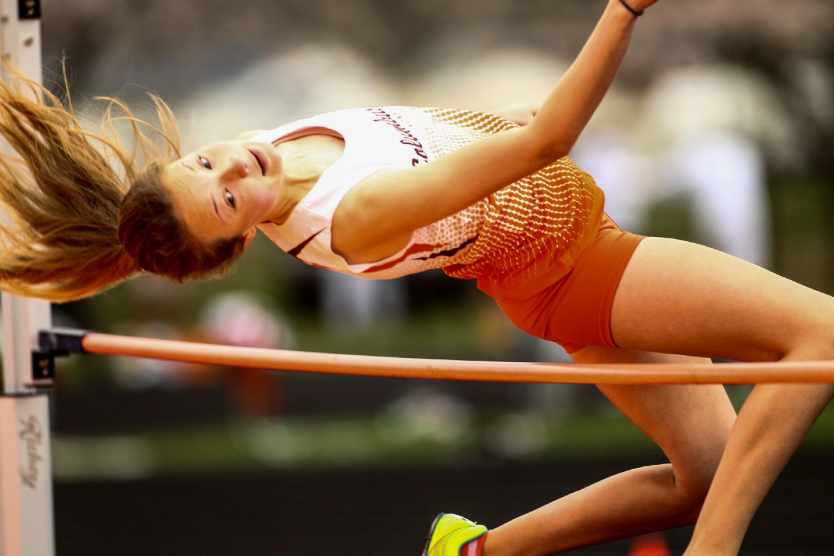 Elena Stoughton makes her attempt at the high jump Saturday morning as the Columbus East track team hosted Bloomington South in their season opener. Columbus East High School Columbus, Indiana April 1, 2017 Photo Provided by: Jamie Tomlinson for The Republic