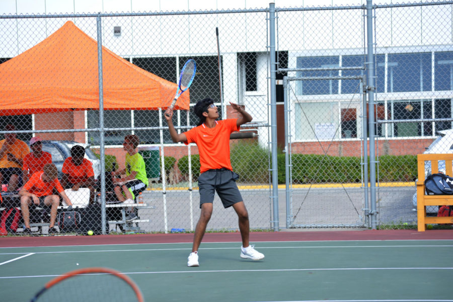 Junior Pranav Kumar holds an open stance.