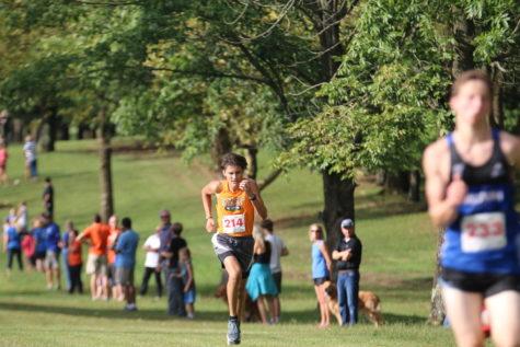 Senior Kaleb Walters on his way to the finish.