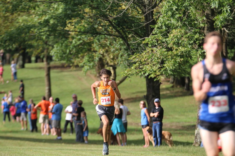 Senior Kaleb Walters on his way to the finish.