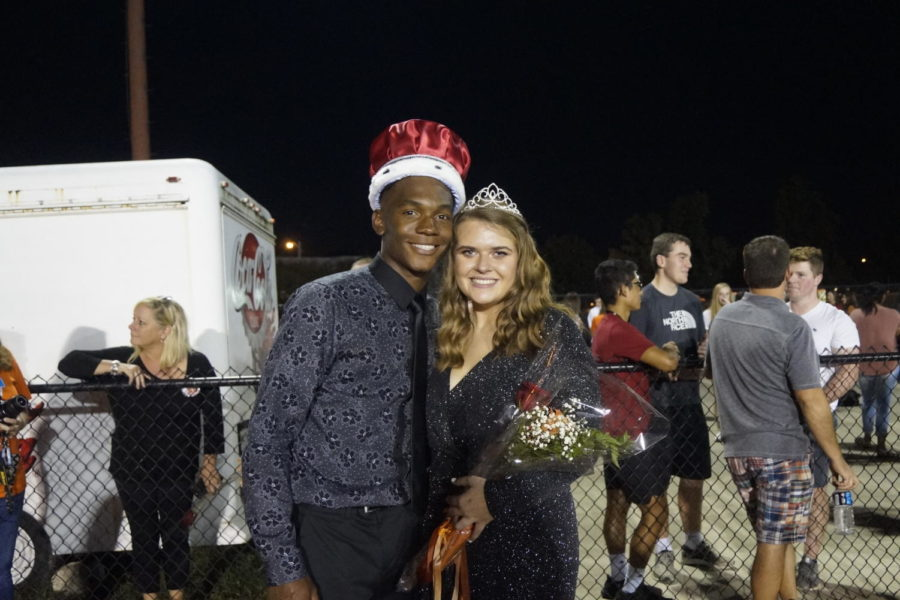 Senior Makai McNeil and senior Abby Meier are deemed homecoming king and queen.