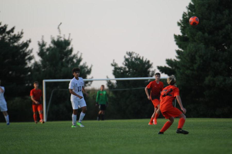 Freshman Jake Hofelich gets ready to head the ball backwards.