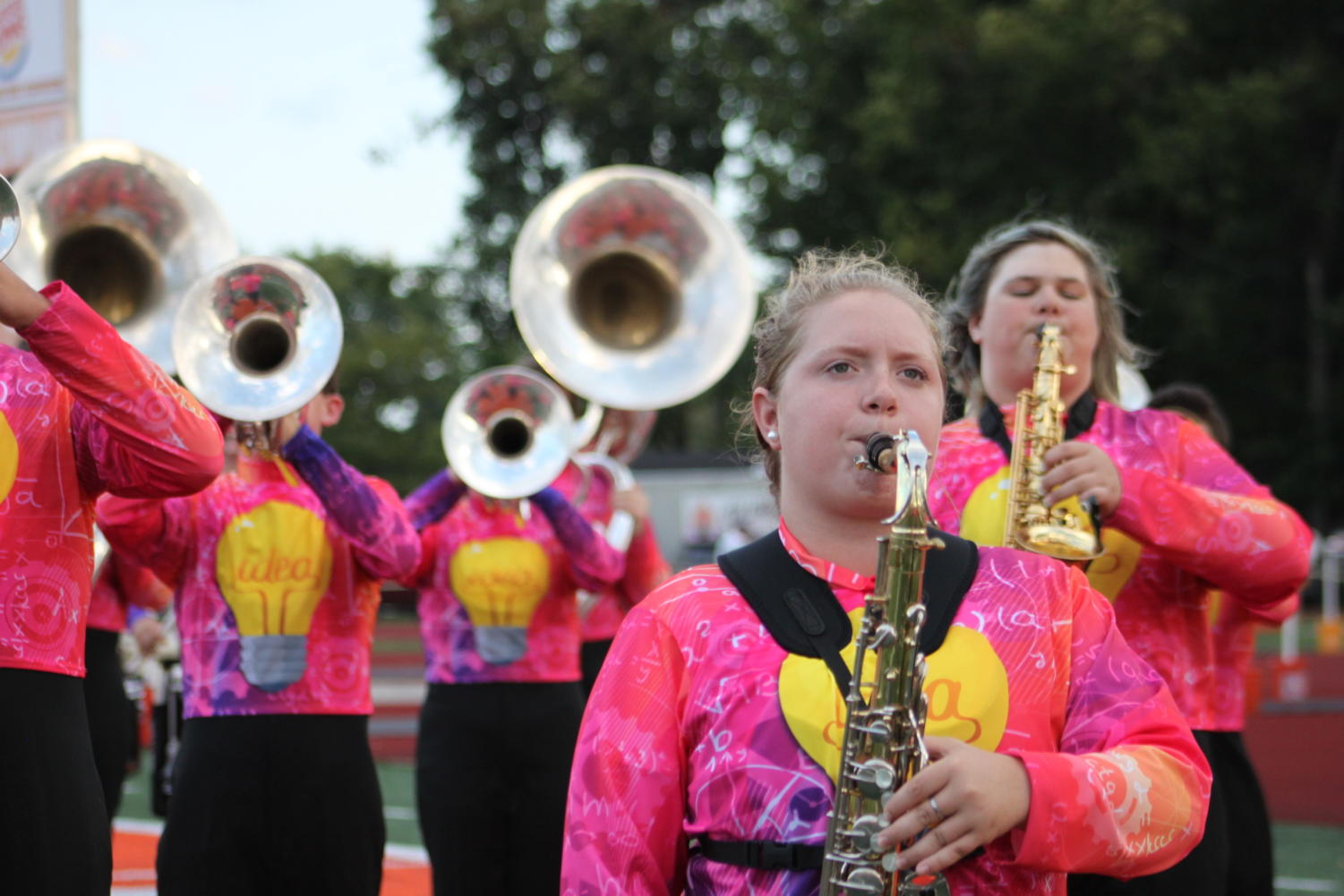 Brass+instruments+perform+at+halftime.