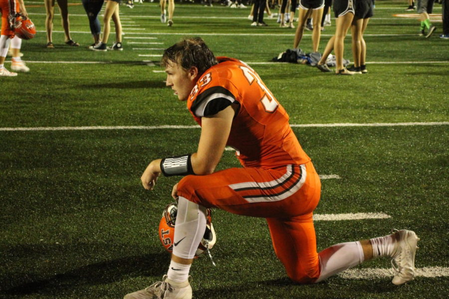 Junior Parker Harrison on the turf shortly after the end of the game.