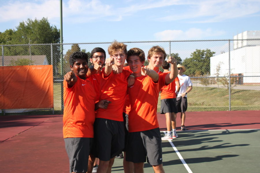 Freshman Gowthamm Mandala, junior Davi Carvalho, junior Ben stenner, senior Caleb Wettschuarack and junior Bridger Wagner are showing their excitement for the match.