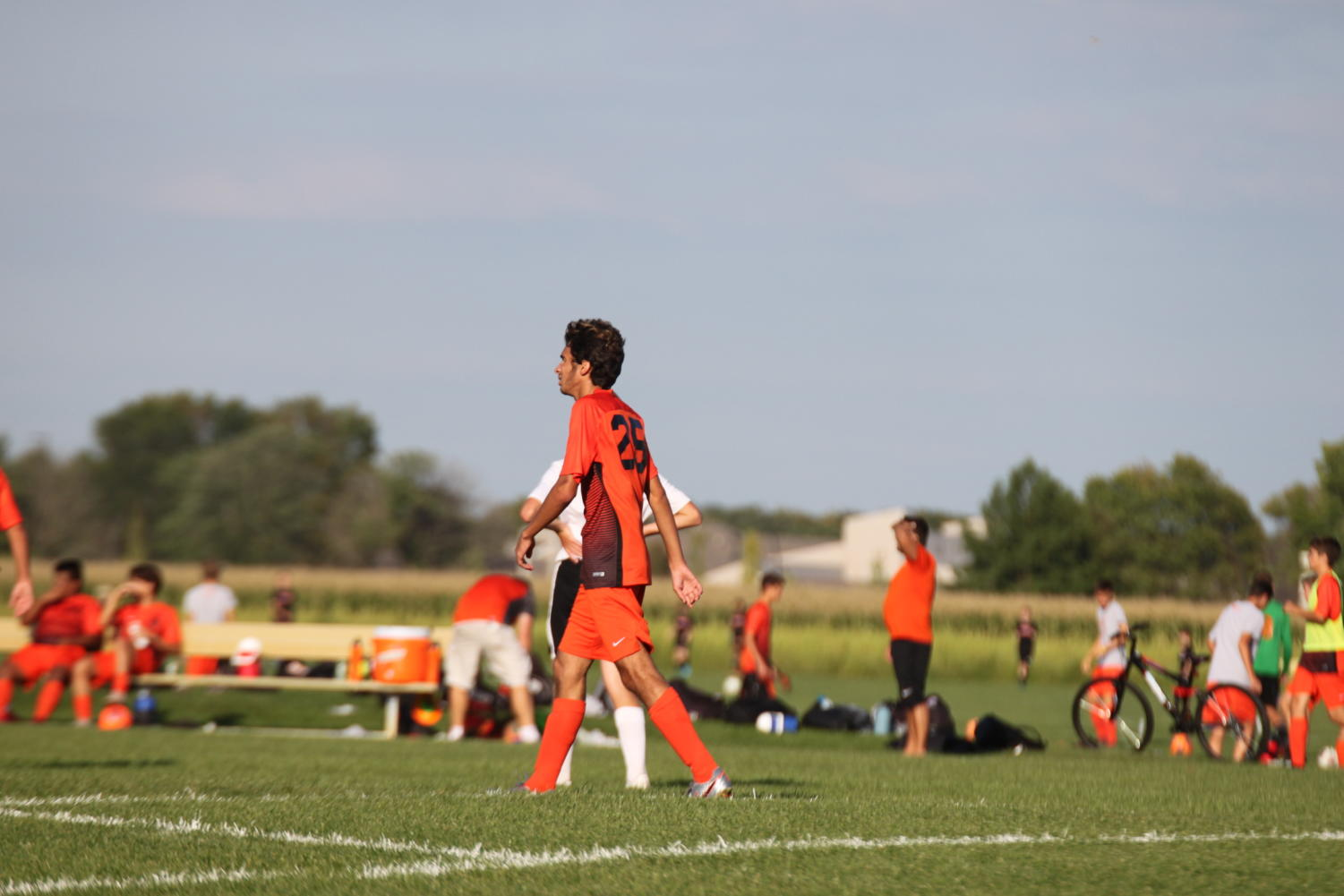 Freshman+Henrique+Carvalho+walks+up+the+field+to+prepare+for+a+goal+kick.