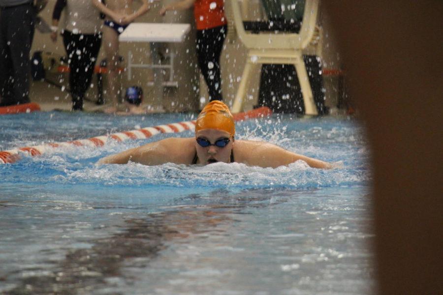 Sophomore Roemarie Hudak swims for the Olympian girls.