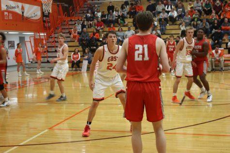 Junior Daniel Murphy guards a Fishers player.