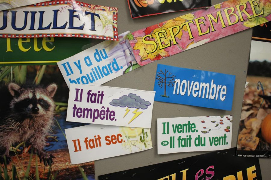Posters in French identify the months and types of weather in a year.