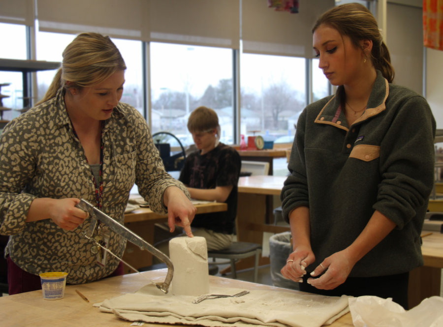 Junior Chloe Miller works on her project in Advanced 3D art.