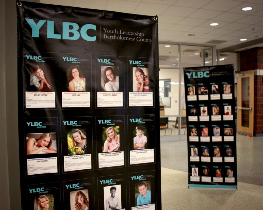 The 2020 YLBC (Youth Leadership Bartholomew County) banners are proudly displayed in the lobby of Columbus East.