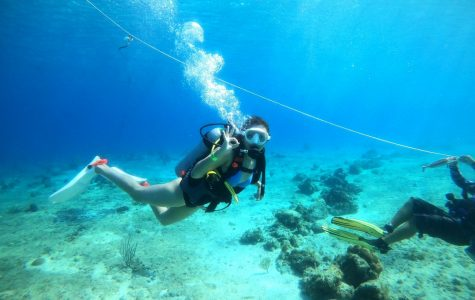 Junior Monica Burton scuba dives for the first time. Burton plans on obtaining her certification for scuba diving once she gets back home.
