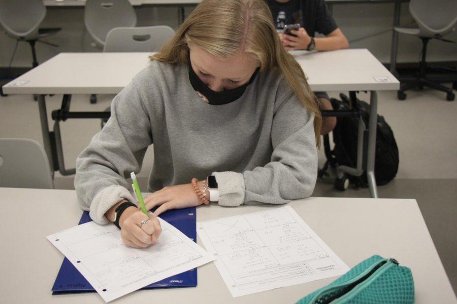 Sophomore Maggie Wiesner does her homework