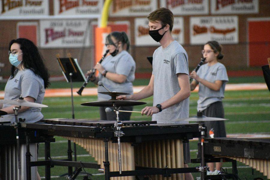 Senior Chase Jones plays the xylophone