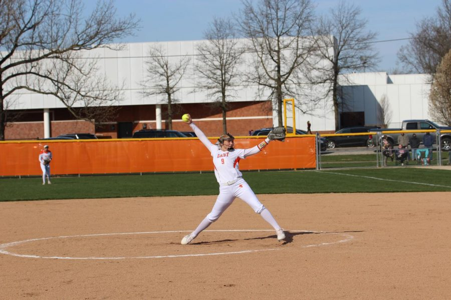 Sophomore Kaylee Smith winds up her pitch.
