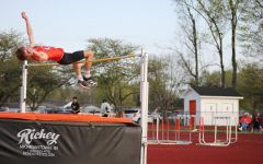 East track student does the high jump event.
