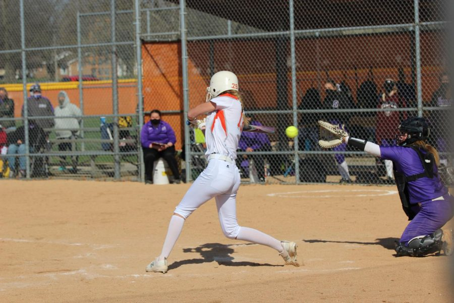 Sophomore Saige Stahl swings at the ball.