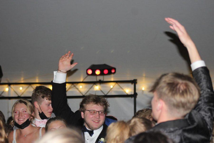 Senior Matthew Hutchenson gets the party going.