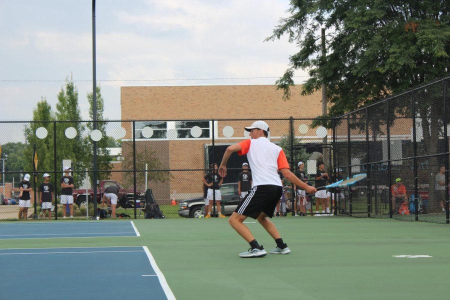 Junior Mathew Degner makes a hit.